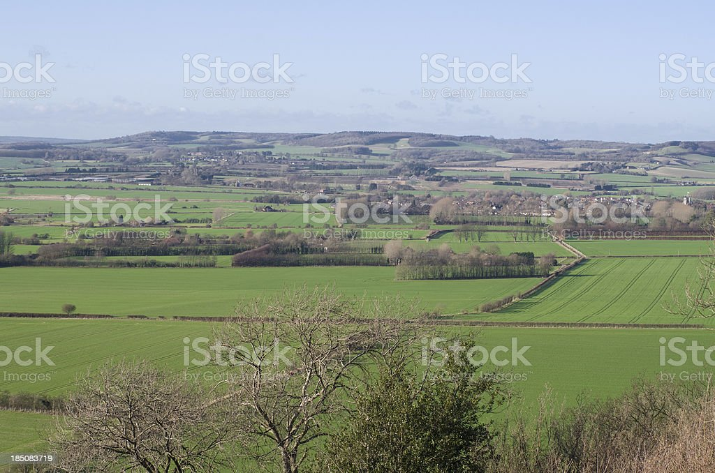 Landscape view of the Stour Valley in North Downs stock photo