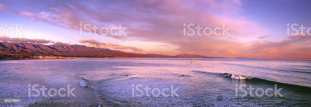 A landscape view of the sunset at Santa Barbara beach stock photo