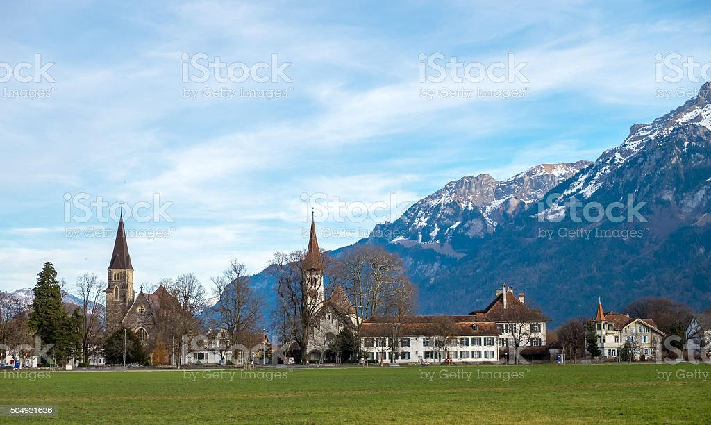 Landscape view of village at Interlaken, Switzerland stock photo