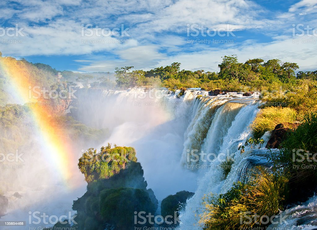 Landscape view of waterfalls in Argentina during the day stock photo