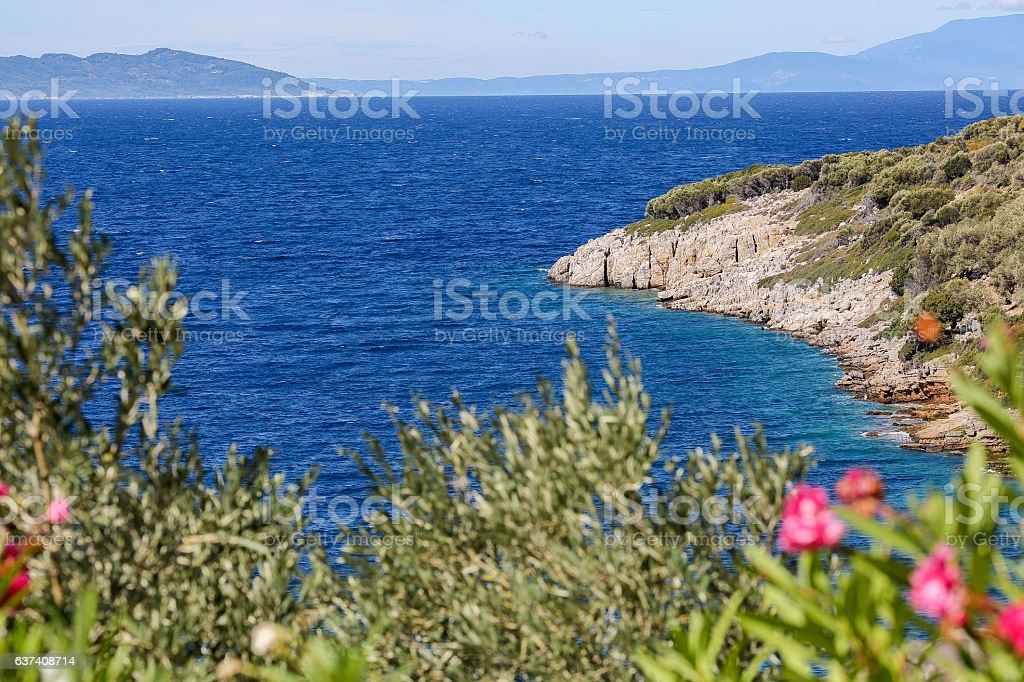 Landscape view with greek sea in the summer stock photo