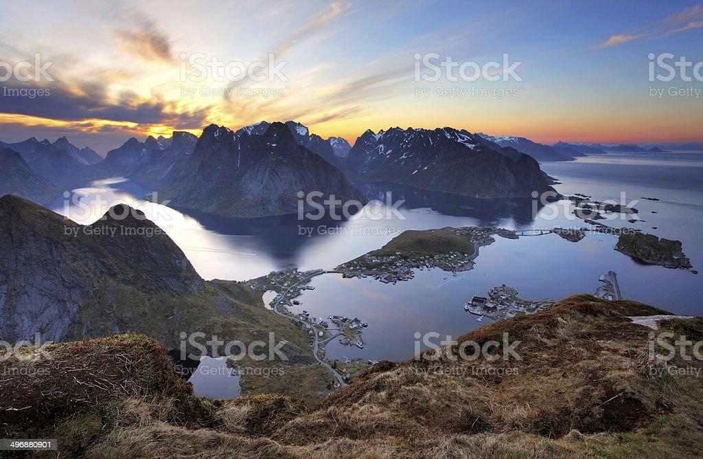 Landscape - Village Reine at sunset, Norway stock photo