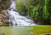 Landscape waterfall flowing into soft silk sheet