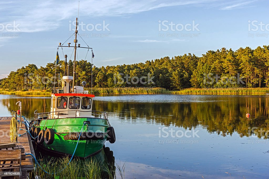 Landscape with a boat stock photo