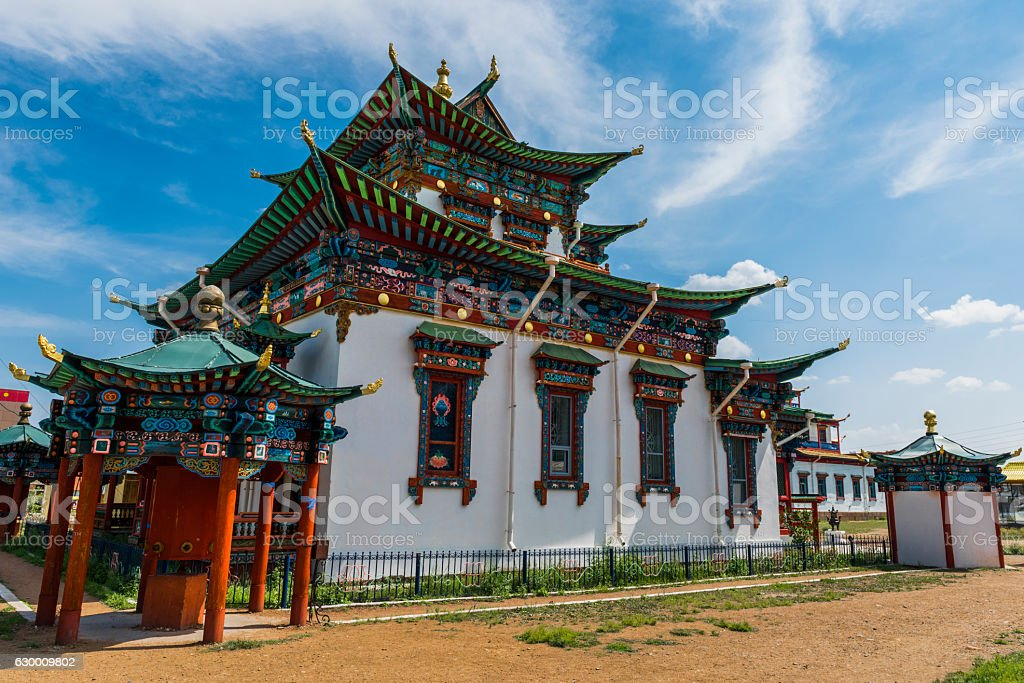 Landscape with a Buddhist temple stock photo