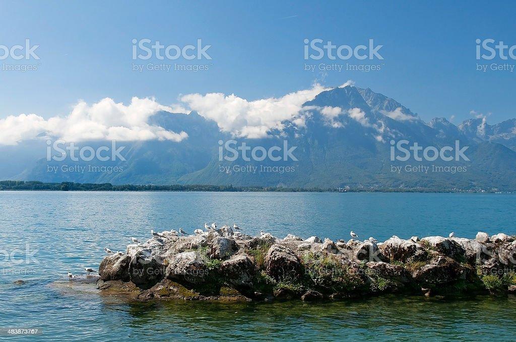 landscape with a lake Geneva stock photo