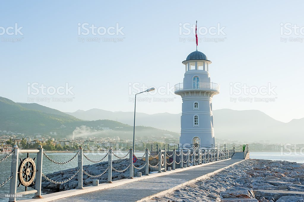 Landscape with a lighthouse royalty-free stock photo