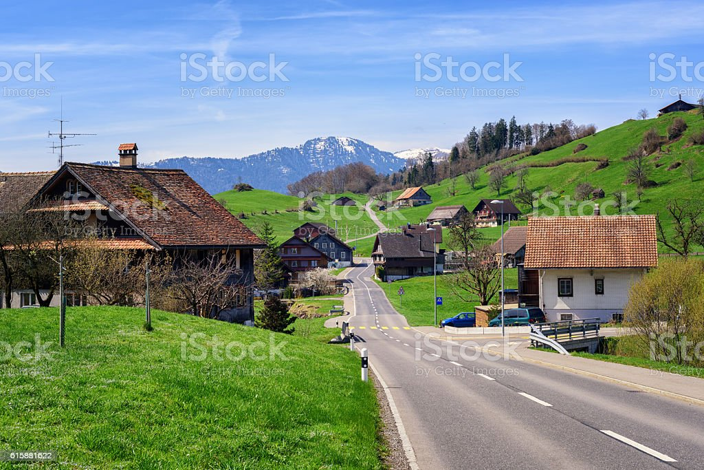 Landscape with a little village in central Switzerland stock photo