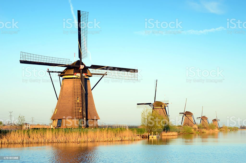 landscape with aerial Mill on the channel in Kinderdiyk, Holland stock photo