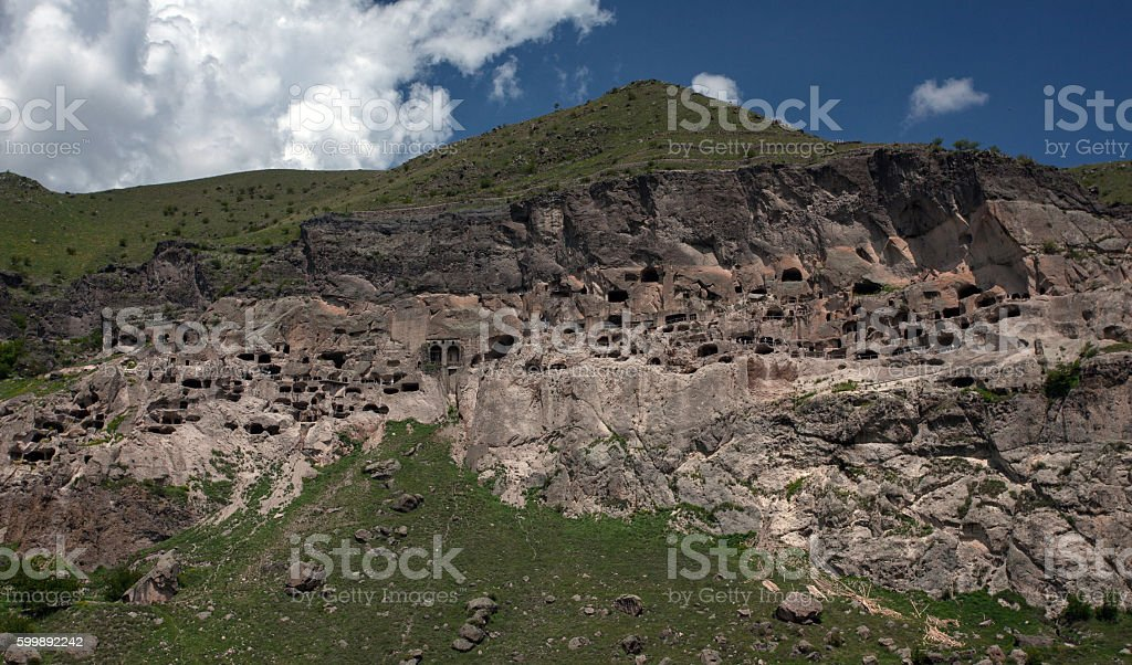 Landscape with an ancient monastery complex of Vardzia stock photo