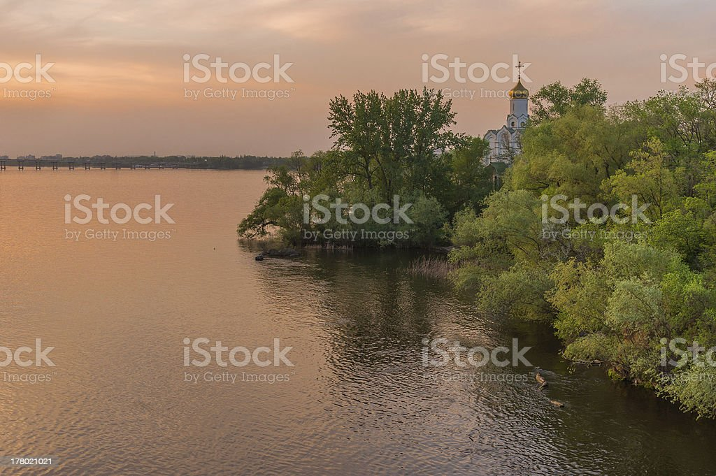 Landscape with an Orthodox church stock photo