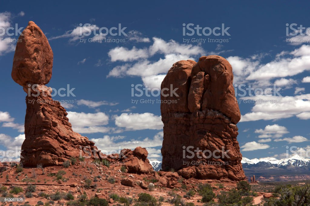 Landscape with balancing rock stock photo