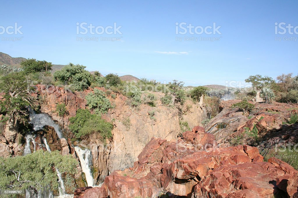 Landscape with Baobab close Epupa Falls, Kunene River, Namibia, Africa stock photo