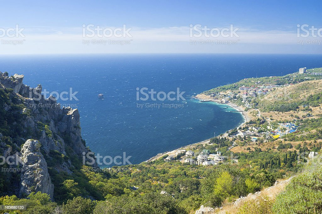 Landscape with Blue Bay near Simeiz town Crimea, Ukraine royalty-free stock photo