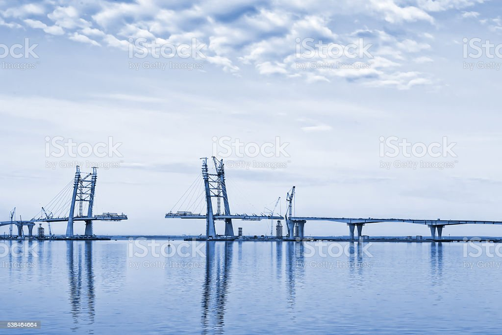 Landscape with bridge construction stock photo
