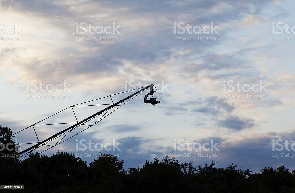Landscape with camera on crane stock photo