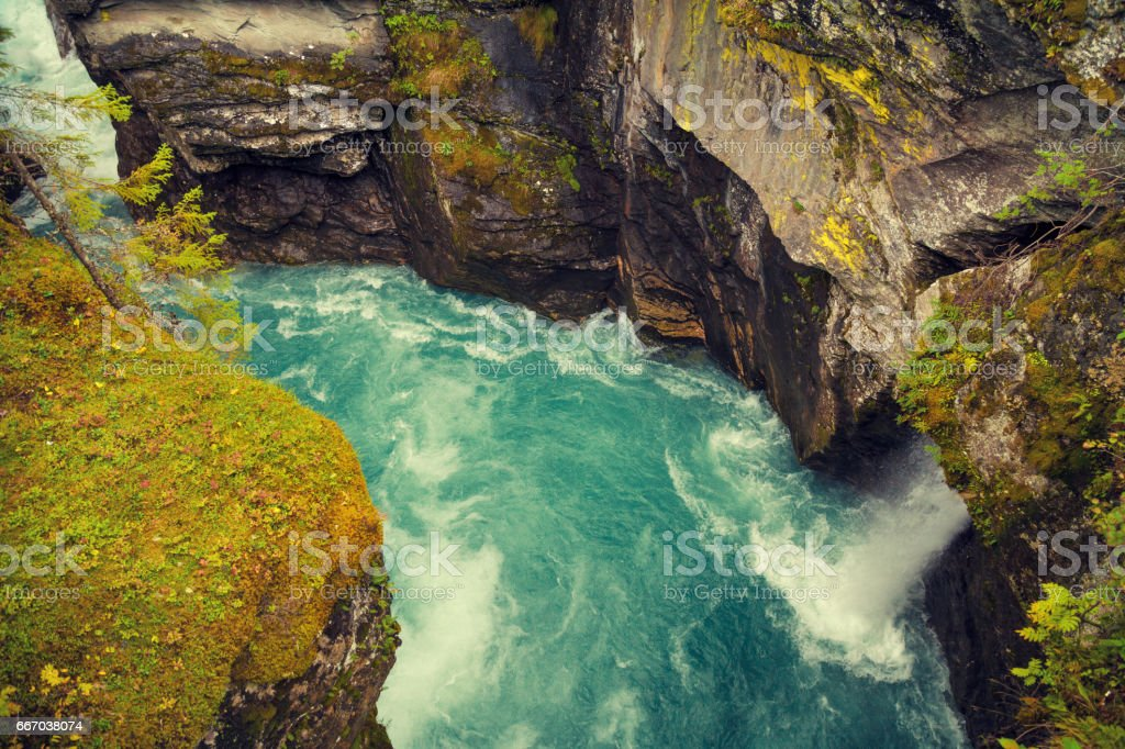 Landscape with canyon and mountain river. Nature Norway stock photo