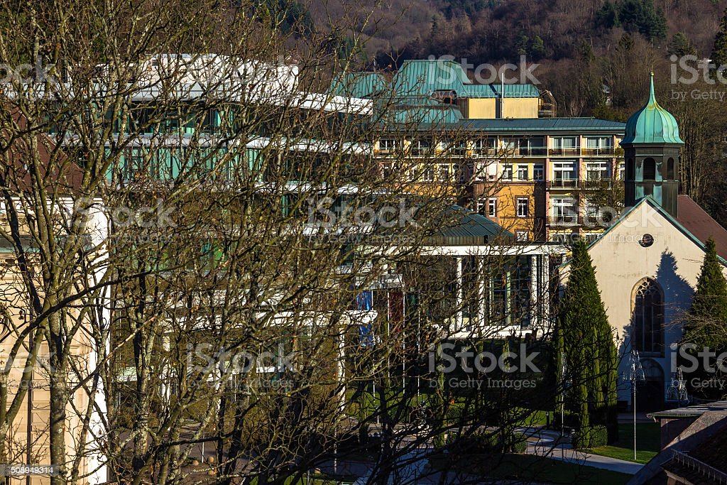 Landscape with Caracalla Spa and Hospital Church, Baden-Baden, Germany stock photo