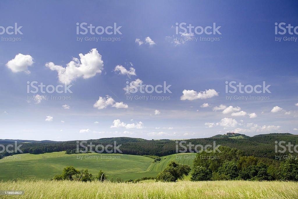 landscape with castle Leuchtenburg at horizon royalty-free stock photo