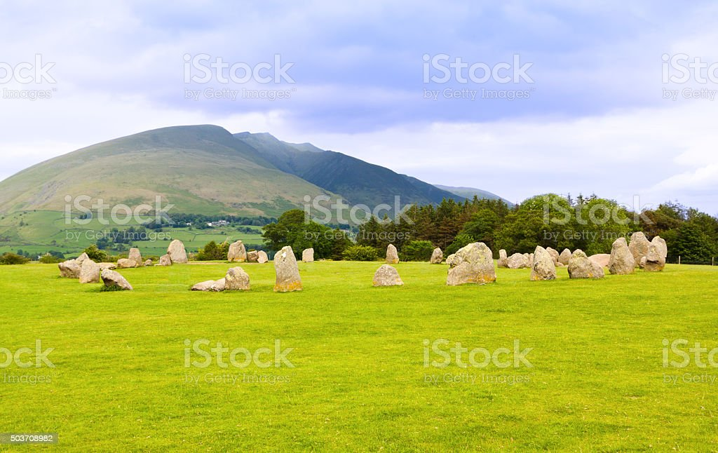 Landscape with Castlerigg Stone Circle and Mountains, Lake District, England. stock photo