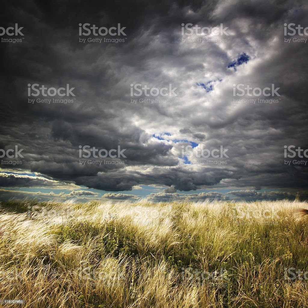 Landscape with cloudy skies and field stock photo