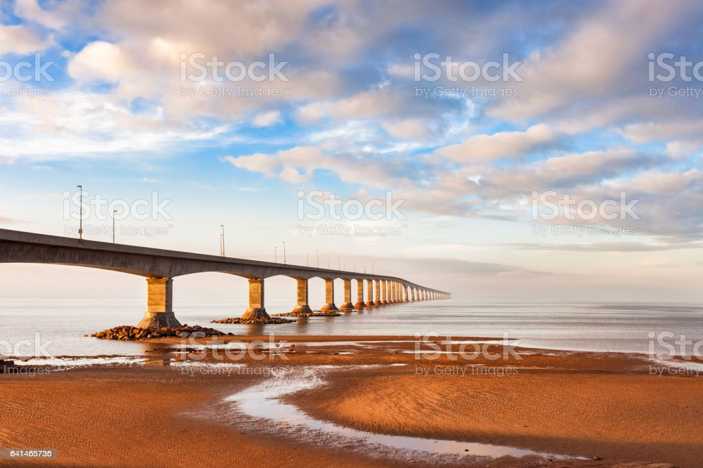 Landscape with Confederation Bridge Leading to Prince Edward Island Canada stock photo