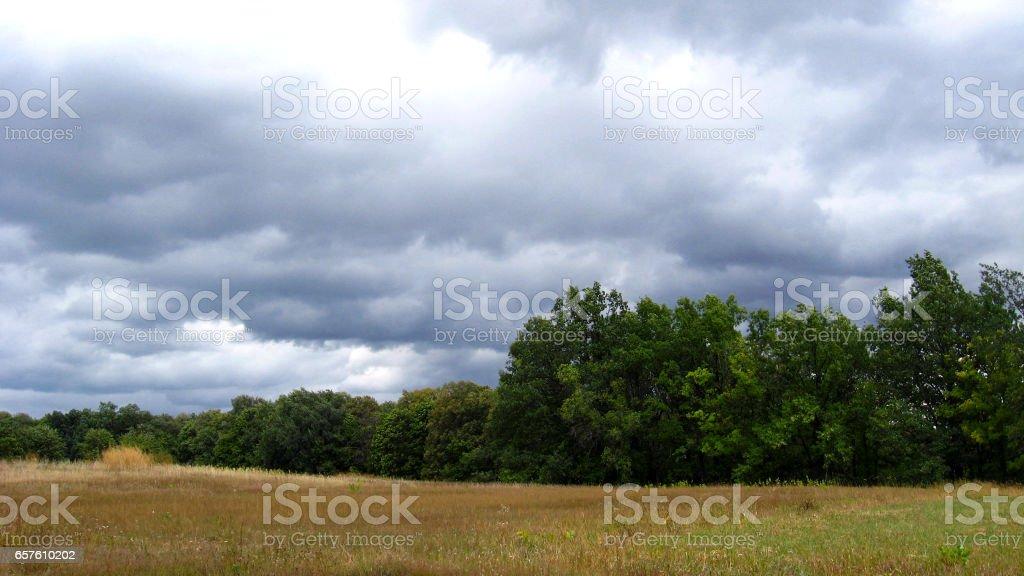 Landscape with dark rainy sky stock photo