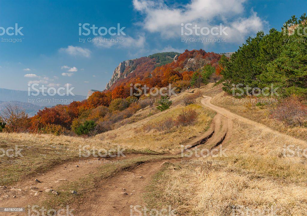 Landscape with earth road in mountain pasture Demerdzhi stock photo