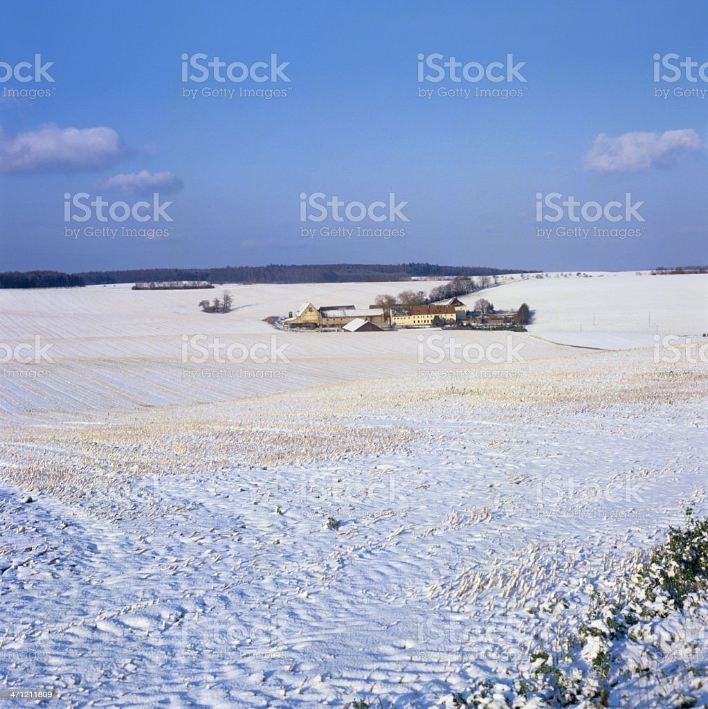 Landscape with farm in winter (image size XXXL) royalty-free stock photo