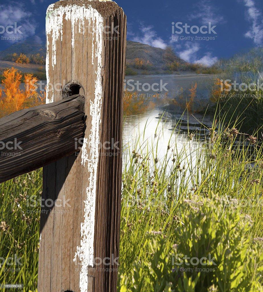 landscape with fence pole stock photo