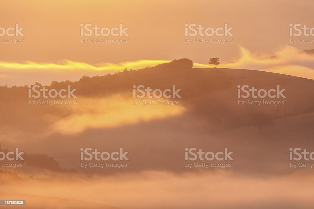 Landscape With Fog at Dawn, Tuscany, Italy royalty-free stock photo