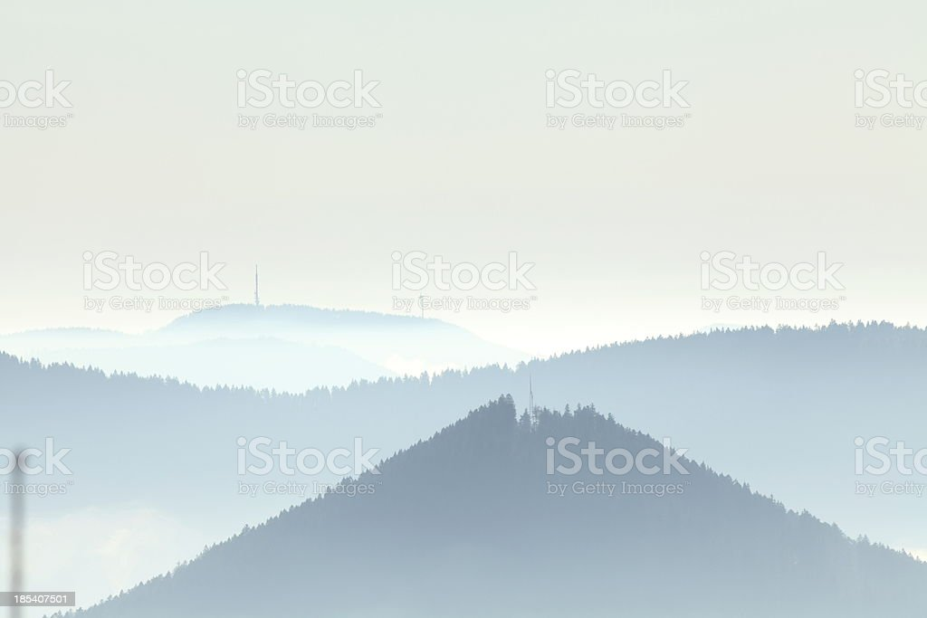 landscape with fog in valley - rolling hills  Black Forest royalty-free stock photo