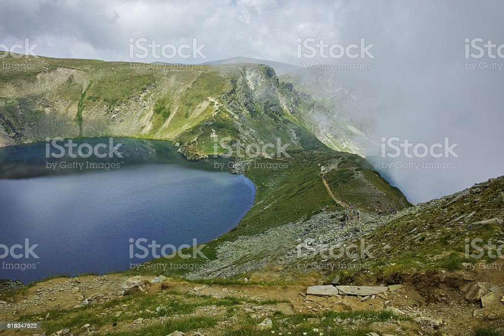 Landscape with Fog over The Eye and The Kidney lakes stock photo