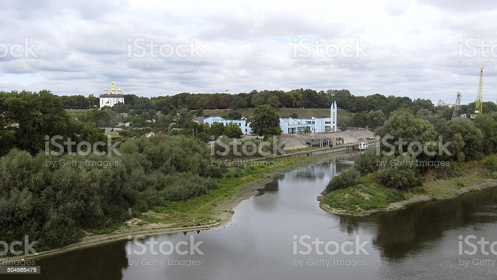 landscape with grey clouds and Desna river stock photo
