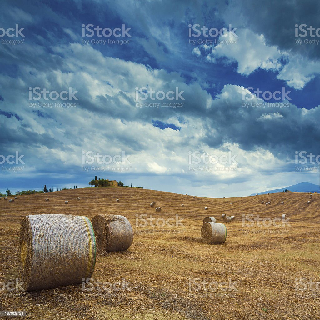 Landscape with haybales in Tuscany royalty-free stock photo