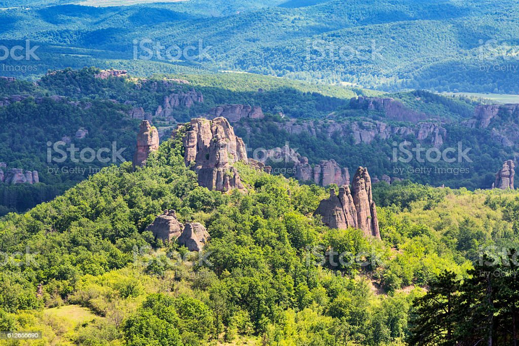 Landscape with high cliff rocks, Belogradchik, Bulgaria stock photo