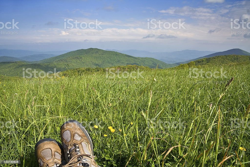 Landscape with Hiker stock photo