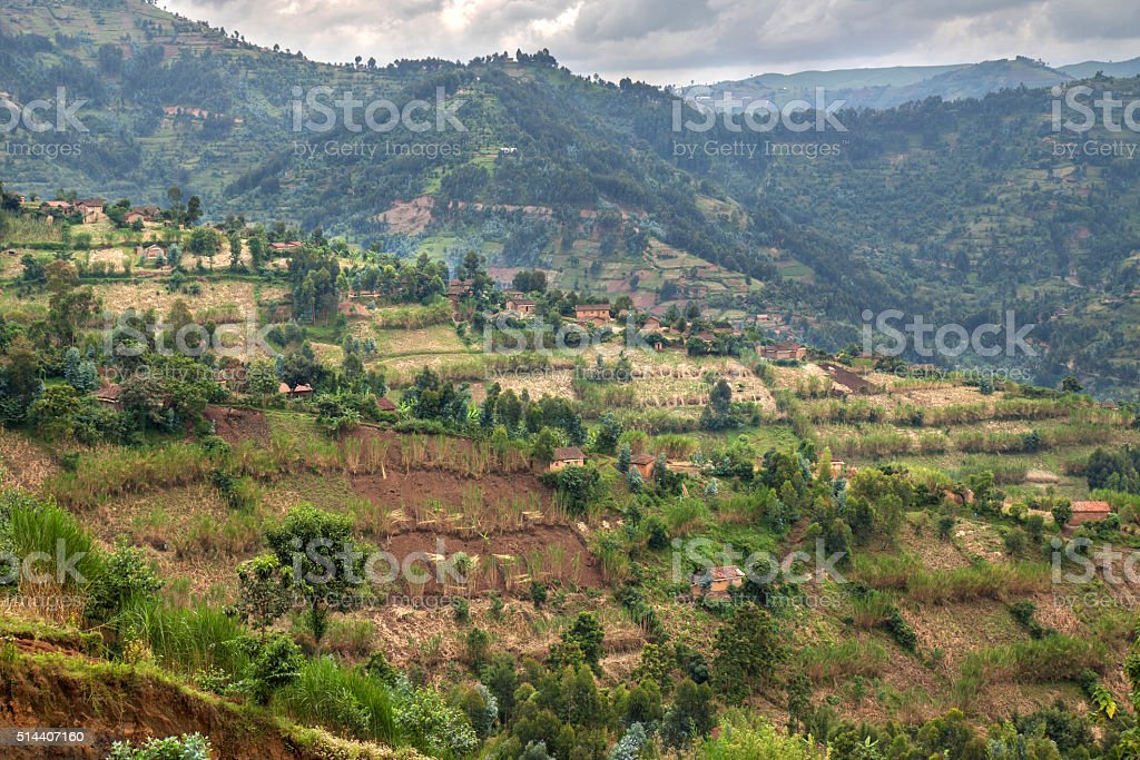 Landscape with houses and cultivated land in Rwanda stock photo