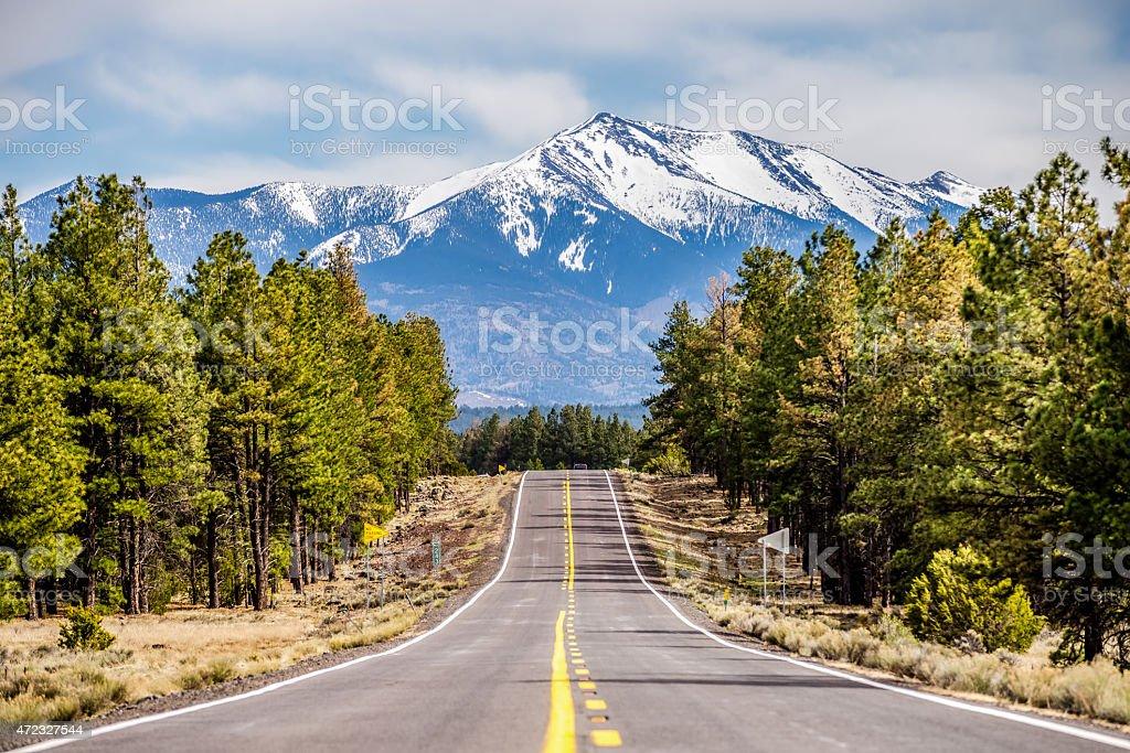 landscape with Humphreys Peak Tallest in Arizona stock photo