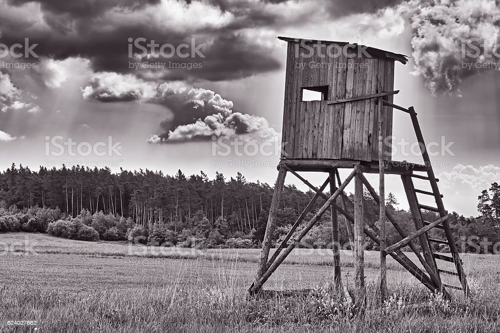 Landscape with hunting pulpit stock photo