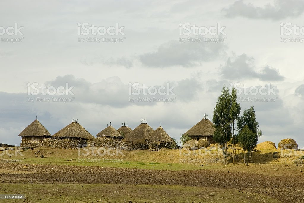 Landscape with huts in Ethiopia stock photo