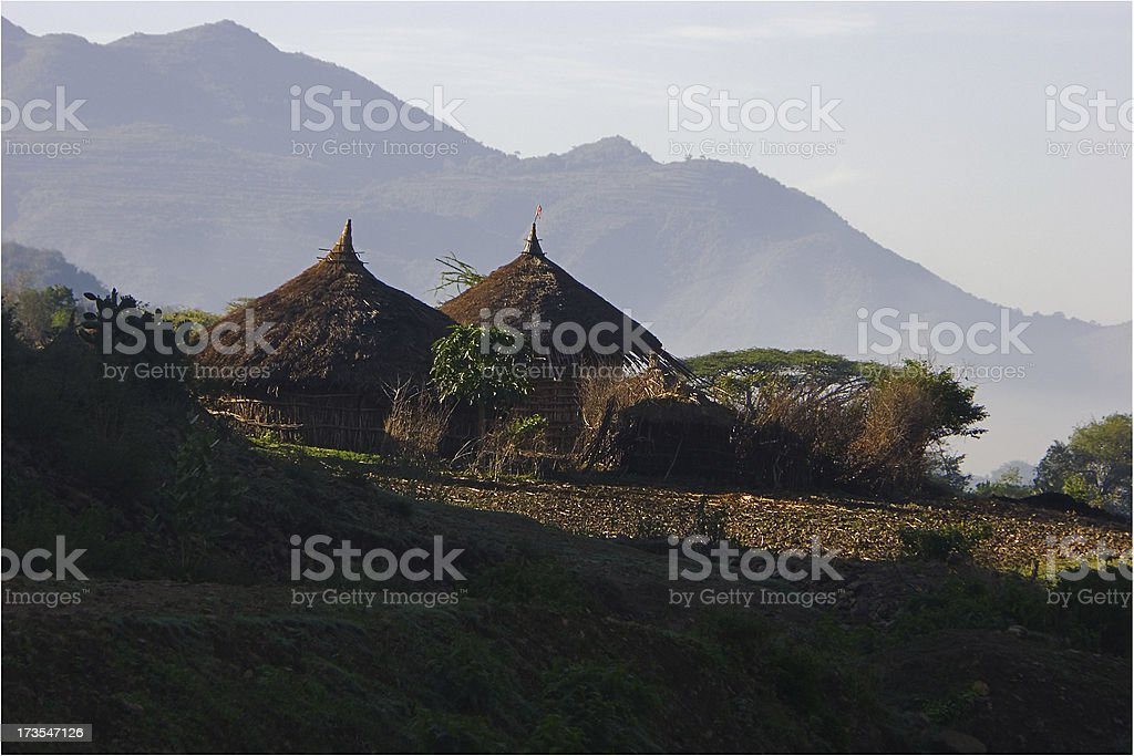 Landscape with huts in Ethiopia royalty-free stock photo