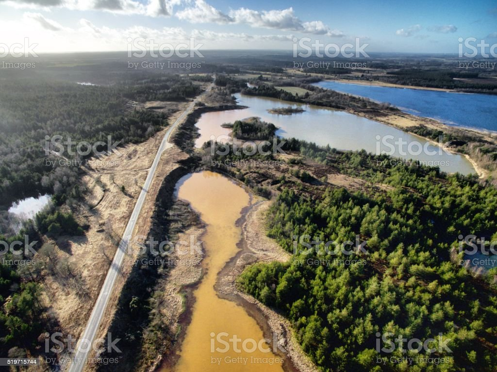 Landscape with lakes and forests stock photo