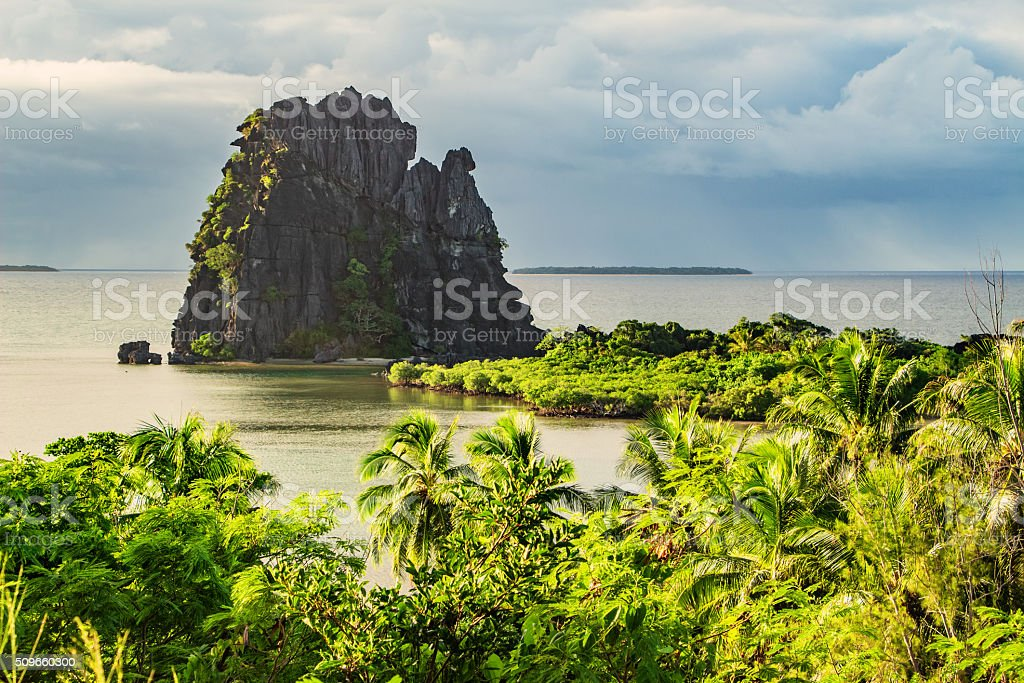 Landscape with Le Poulet Rock Formation Hienghene Bay New Caledonia stock photo