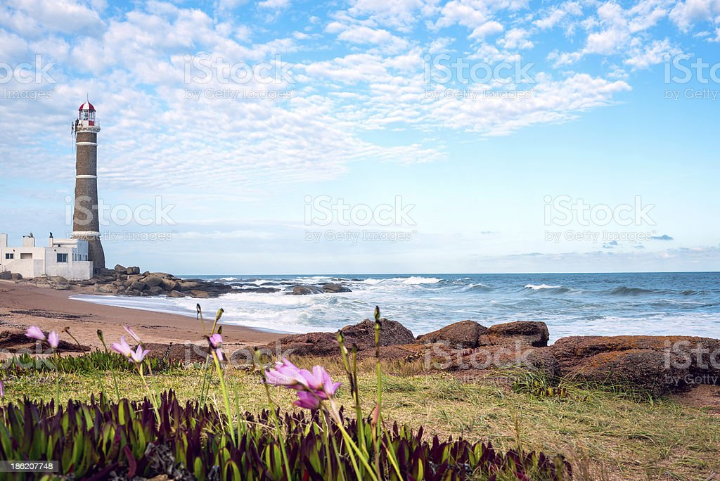 Landscape with lighthouse in Jose Ignatio, Uraguay stock photo