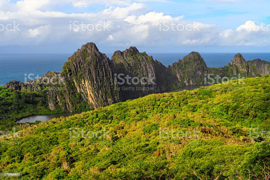 Landscape with Linderalique Rocks at Hienghene Bay New Caledonia stock photo