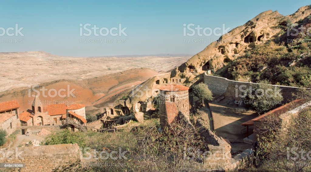 Landscape with Monastic complex of David Gareji. Architecture and archaeological site in Georgia. UNESCO Heritage Site stock photo