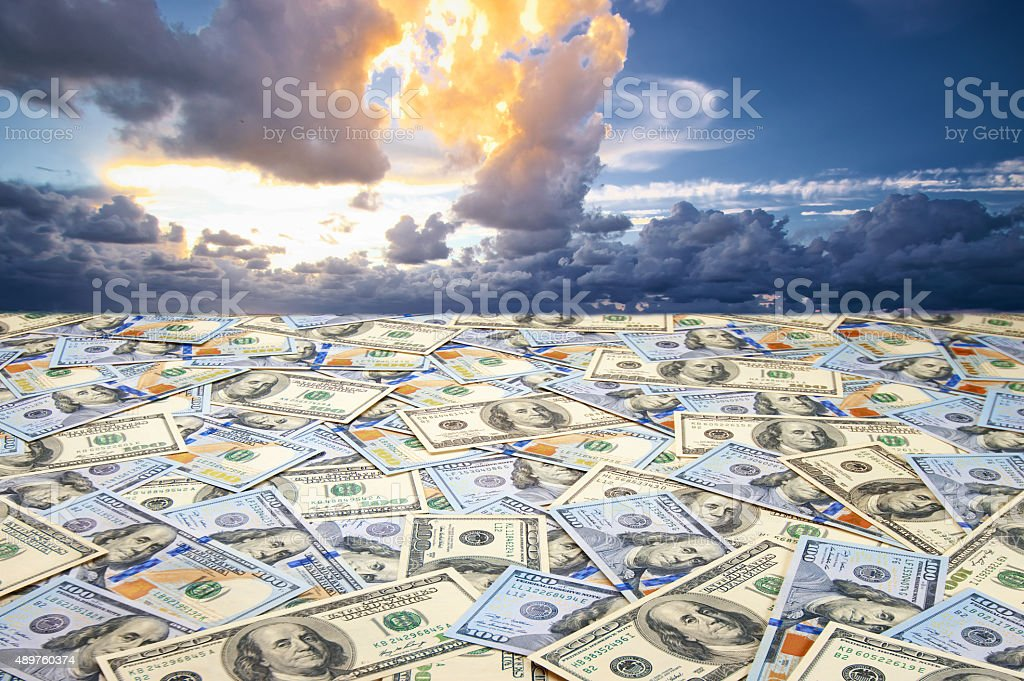 Landscape with money stock photo