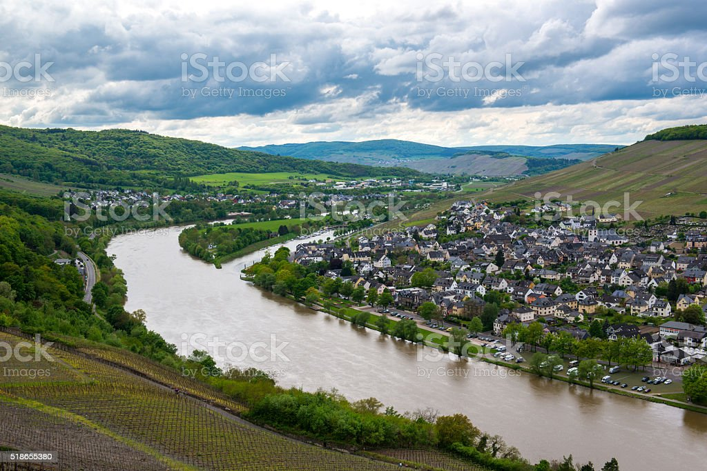 Landscape with Mosel valley, river and Bernkastel-Kues town, Germany stock photo