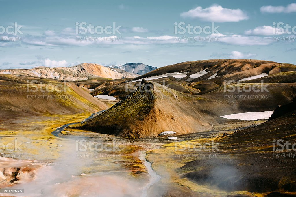 Landscape with moss and snow in Iceland. Mountain tourism stock photo
